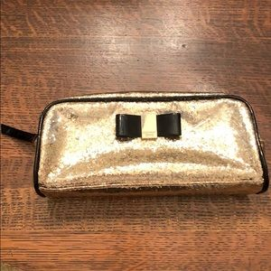 Gold Sparkle Victoria's Secret Cosmetics Bag EUC!